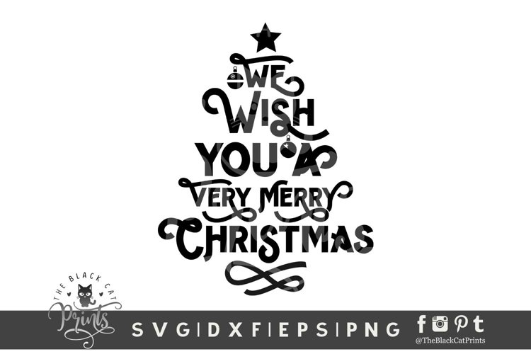 Wish You A Very Merry Christmas SVG | Christmas Tree Quote