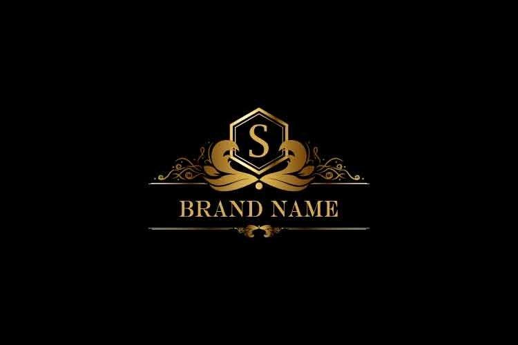 Monogram S letter logo premium luxury gold