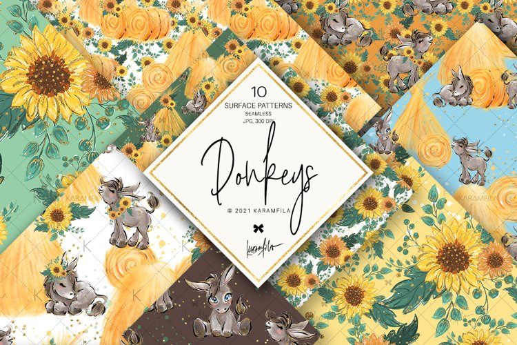 Donkeys & Sunflower Digital Paper, Farm Life Patterns