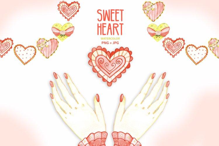 Watercolor hearts example image 1