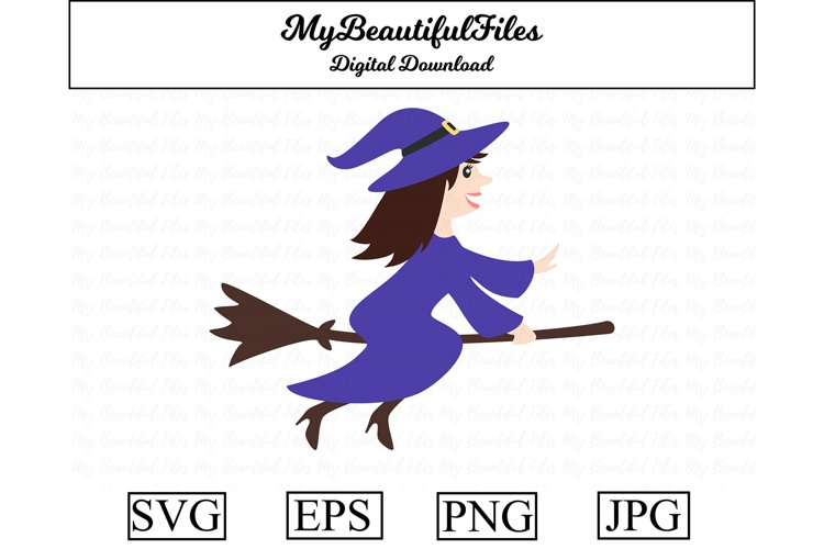 Witch SVG - Cartoon Witch SVG, EPS, PNG and JPG example image 1