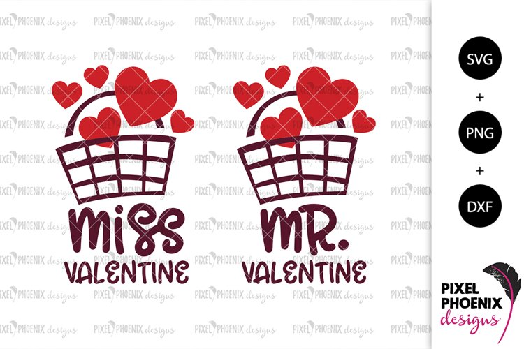 Mr and Miss Valentine SVGs example image 1