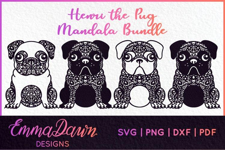 HENRI THE PUG DOG SVG MANDALA ZENTANGLE BUNDLE 4 DESIGNS example image 1