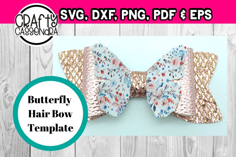 Hair bow svg template file . Butterfly hair bow 2 . DIY svg example image 1