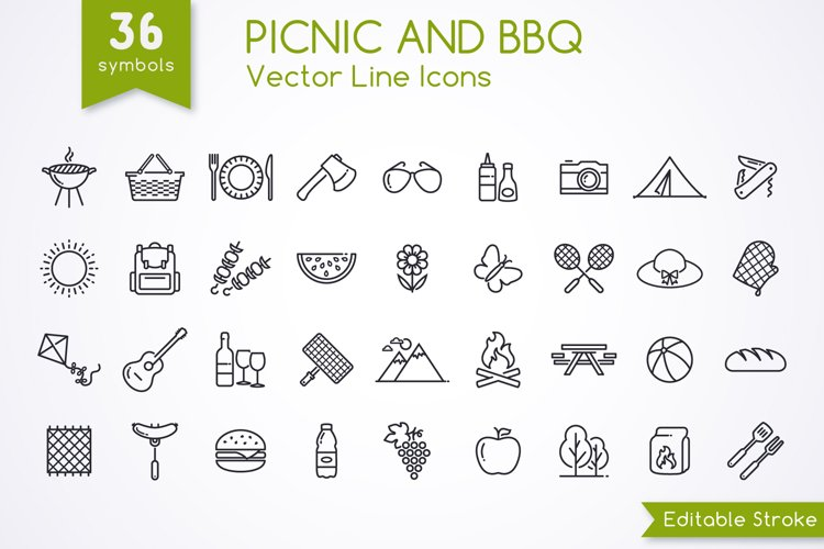 Picnic and BBQ icons