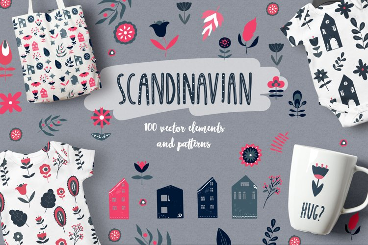 Scandinavian Houses and flower and leaves Nordic clipart example image 1