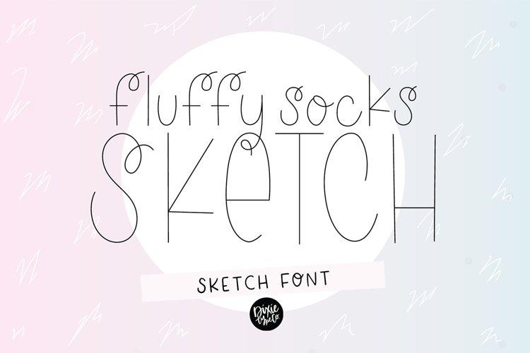"""FLUFFY SOCKS"" Sketch Font - Single Line/Hairline Font"
