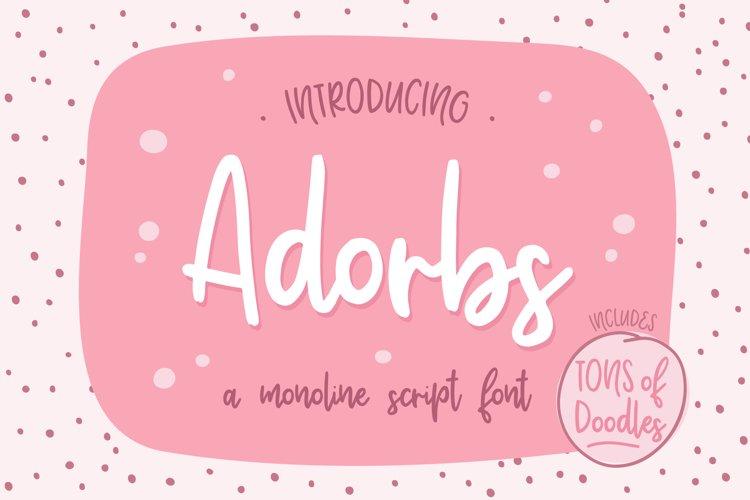 Adorbs, a monoline script font example image 1