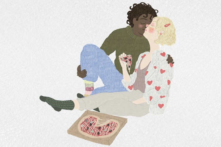 Lovely cartoon couple sitting with a pizza - valentine art