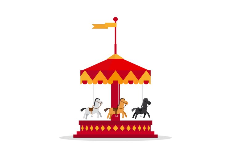 Kids carnival carousel in flat style. example image 1