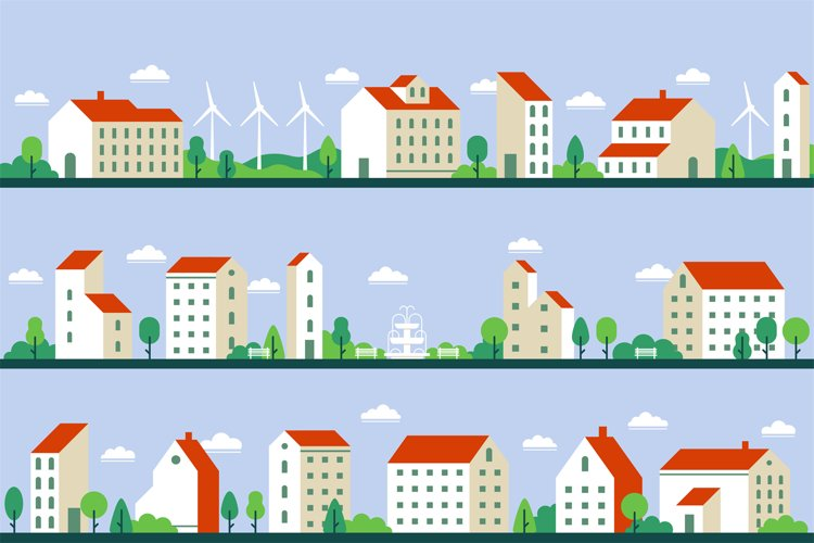 Minimal city panorama. Townhouses buildings, townscape and c example image 1