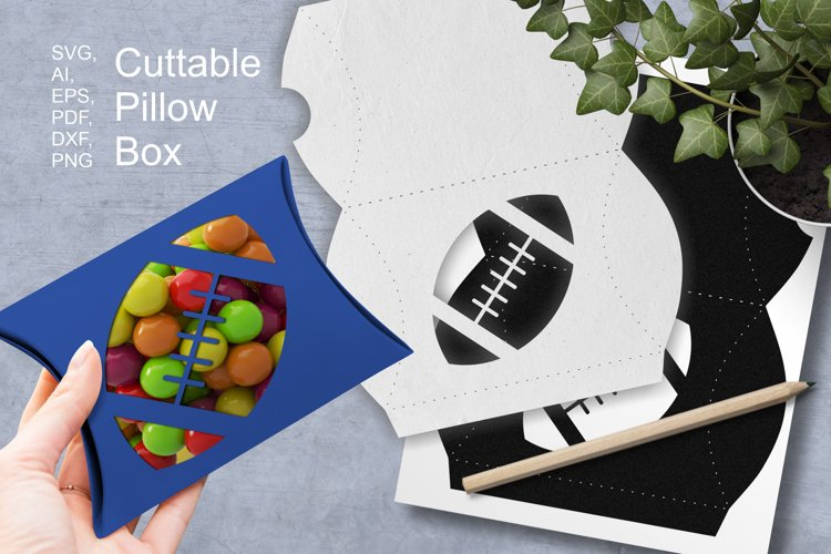 Rugby Ball Cuttable Pillow Box Small Favor Packaging SVG AI