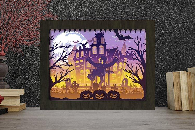 Halloween 9 3D Paper Cut Light Box - Shadow box example image 1