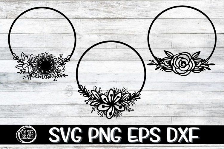 Floral Wreath - Three Designs Included - SVG PNG EPS DXF example image 1