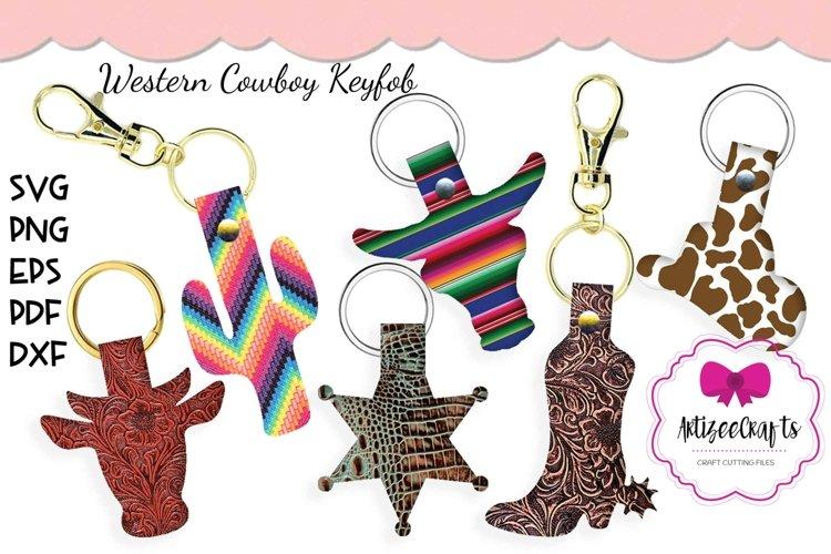Western Key Fob, Cowboy Fob SVG, Leather Key Fob example image 1