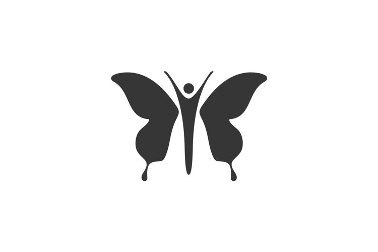 Woman and butterfly people silhouette logo design