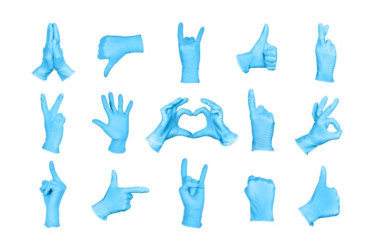 Big Set of hand or signs gestures in blue disposable gloves