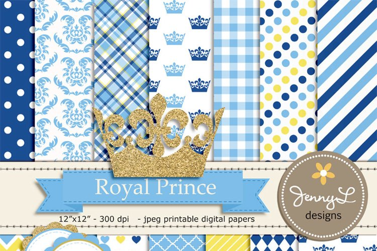 Royal Little Prince Digital papers and Clipart, Gold Crown Baby Shower, Birthday Blue Birth Announcement, Scrapbooking Party Theme example image 1