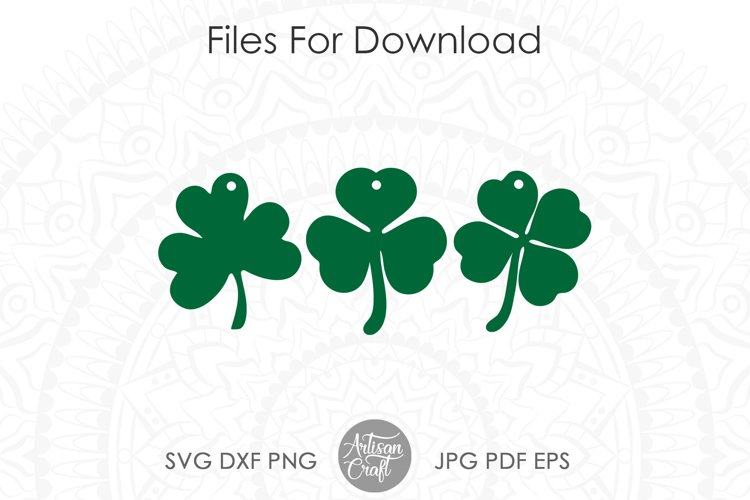 Clover earrings, St Patrick's day earrings, SVG cut file example 2