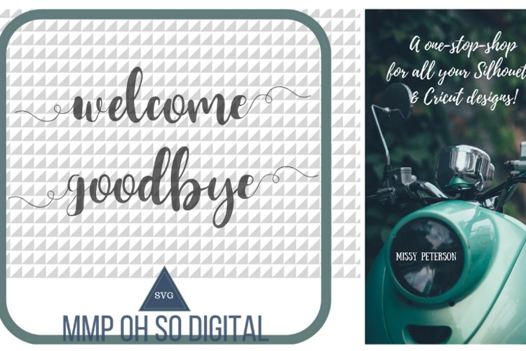 Welcome SVG, Goodbye SVG, Front Door, Back Door, Text Vector, Cut file, for silhouette, for cricut example image 1