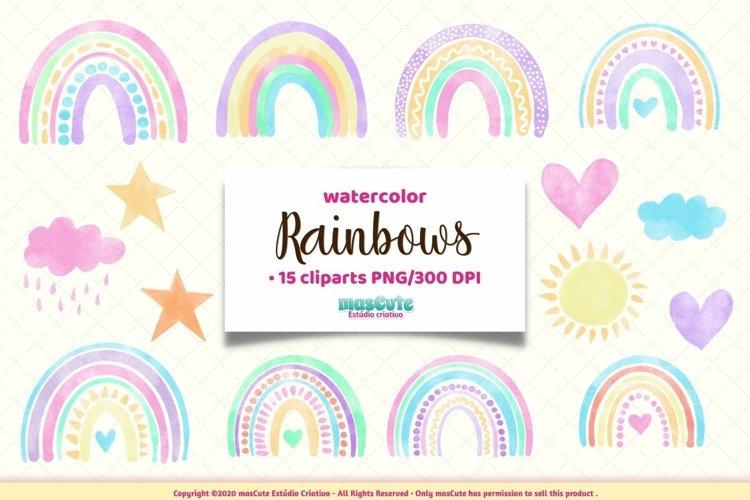 Watercolor Rainbows Clipart