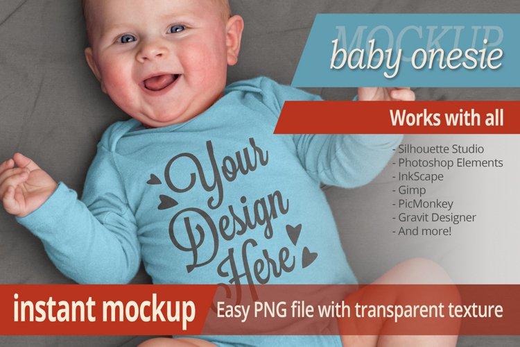 Instant photorealistic baby onesie mockup example image 1