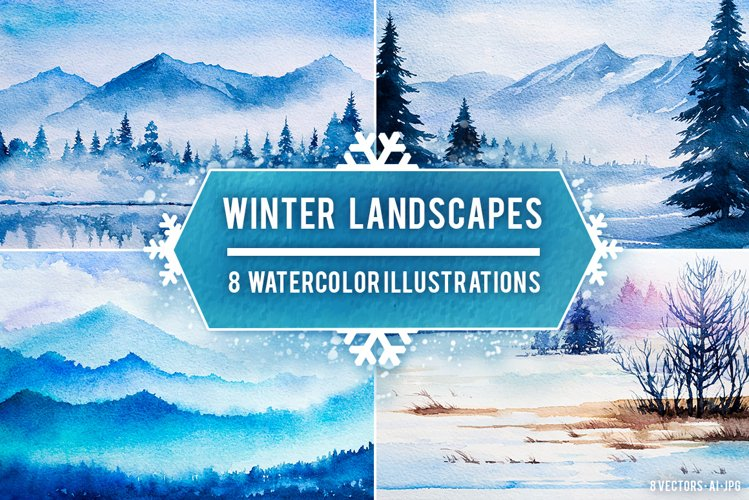 Winter Landscapes set#2. Watercolor. example image 1