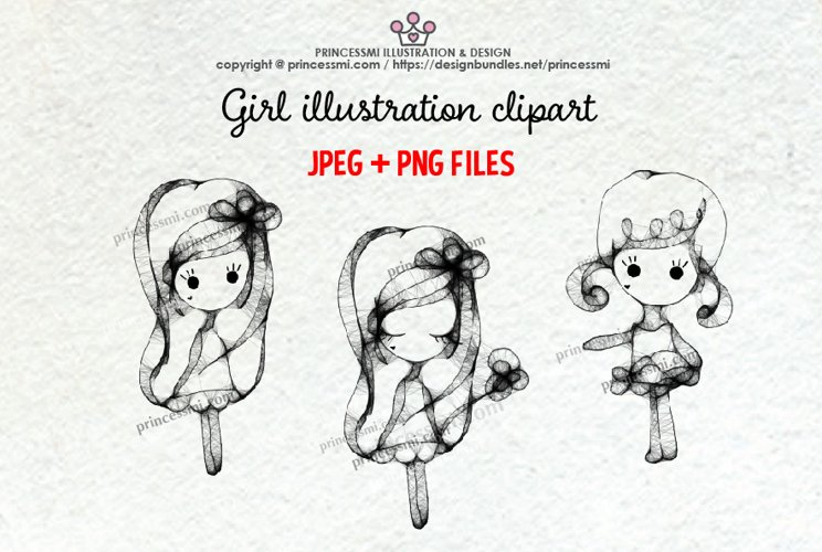 GIRLS illustration clipart 4
