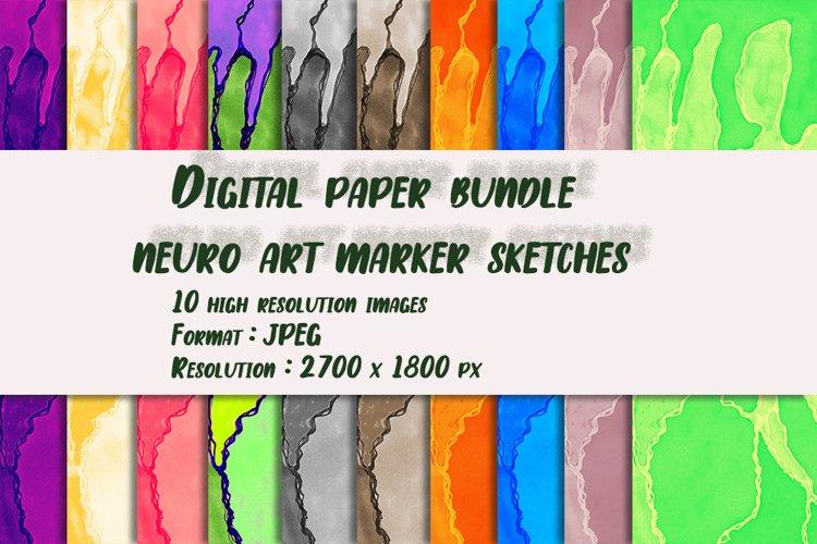 "Digital paper bundle neuro art marker sketches ""Daisies"" example image 1"