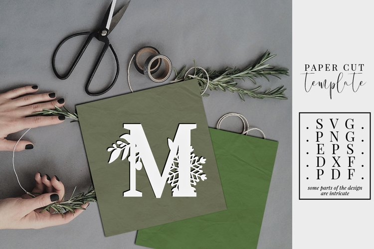 Winter letter M, single initial paper cut, snowflakes SVG example image 1