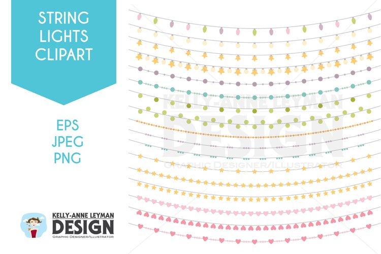 String Lights clipart, Wedding Invitation Clip Art, garland example image 1