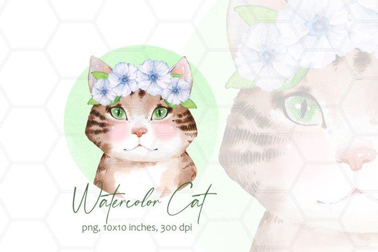 Watercolor cat in wreath example image 1