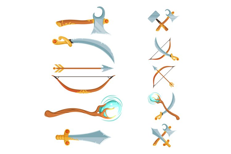 Vector set of fantasy cartoon game design crossed and in the example image 1