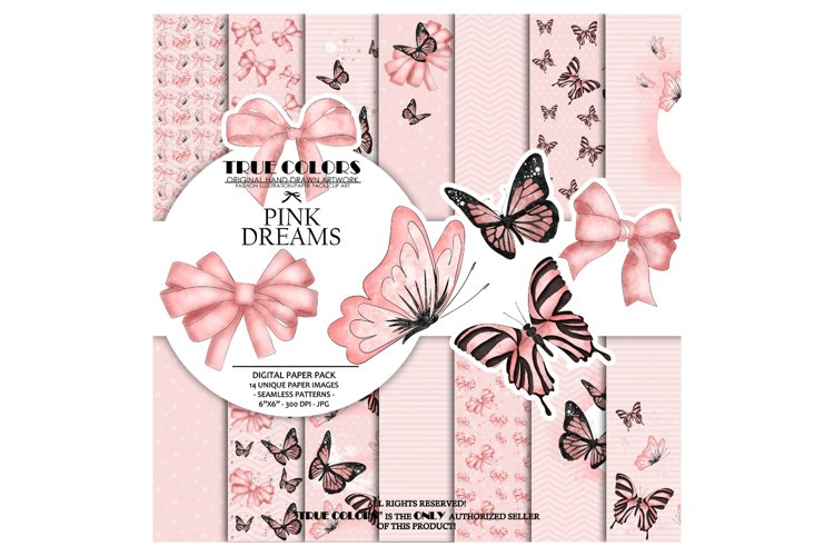 Pink dreams Baby Girl Paper Pack Fashion Illustration example image 1