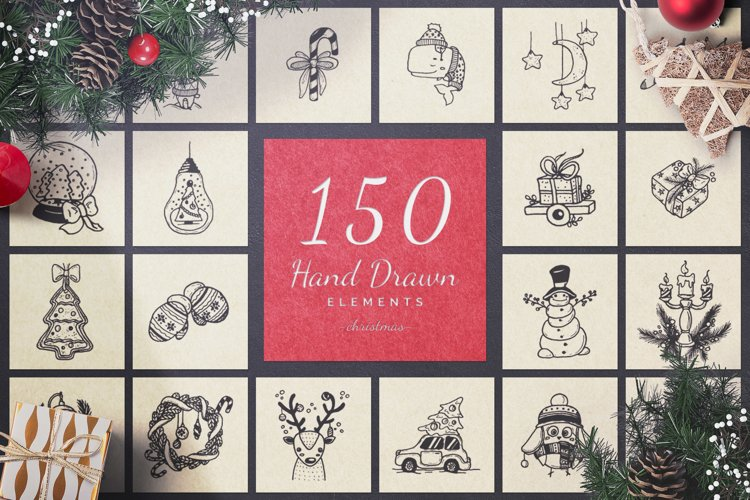 150 Hand Drawn Elements -Christmas- Collection