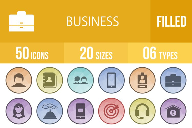 50 Business Filled Low Poly Icons example image 1