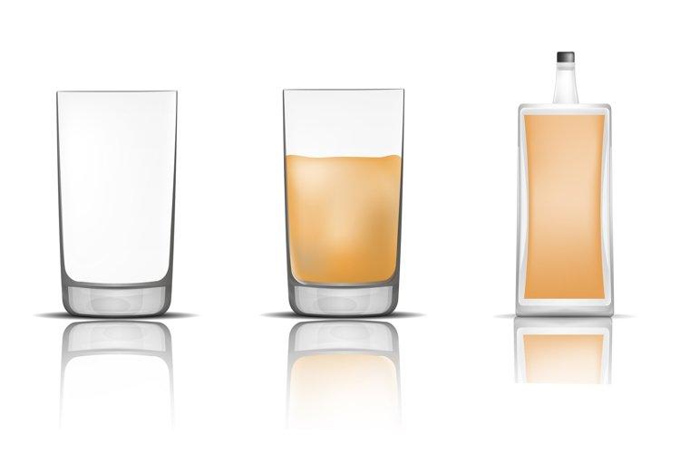 Whisky bottle glass icons set, realistic style example image 1