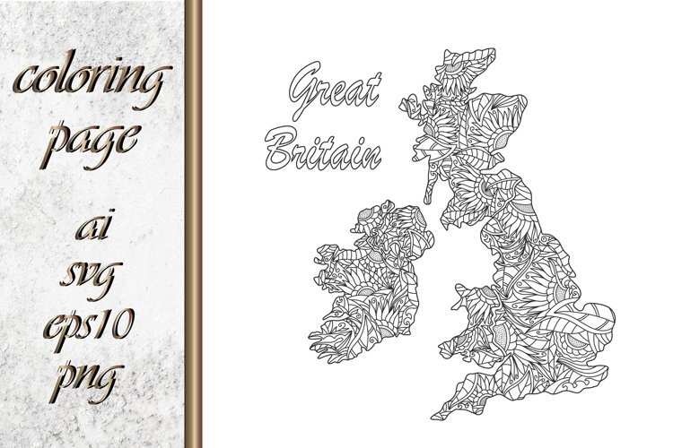 Great Britain map. Eco. Coloring page book example image 1