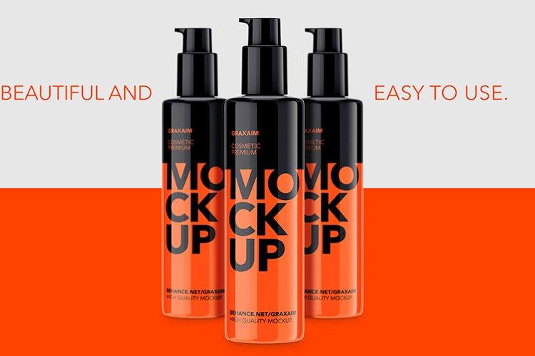 Mockup - Plastic Cosmetic Pump Bottle - Mockup example image 1