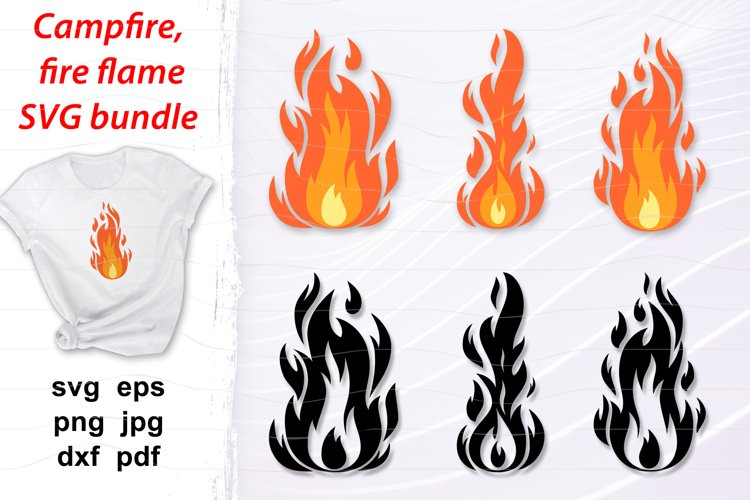 Campfire svg bundle, fire flames layered and silhouette svg