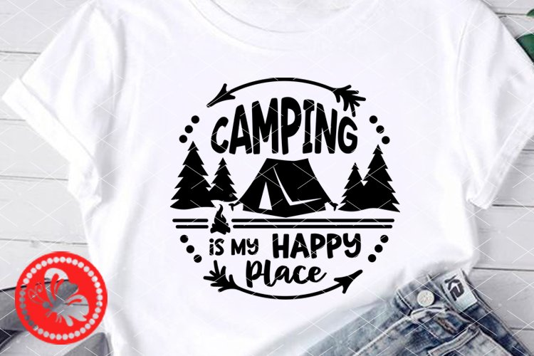 Camping is my happy place Camp tent svg Circle sign Monogram example image 1