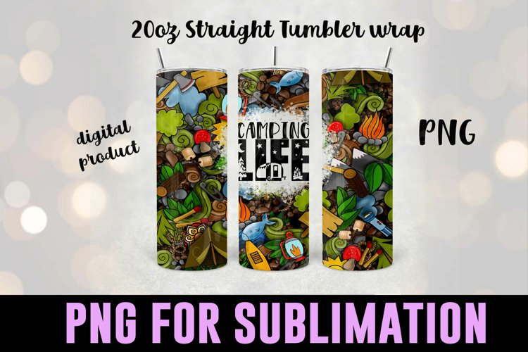 Camping Sublimation Tumbler Wrap - Camping Tumbler Design