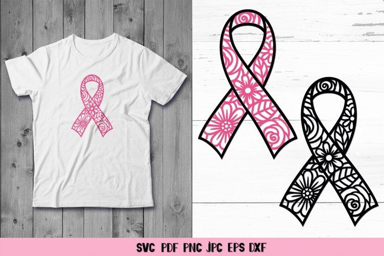 Cancer Awareness Floral Ribbon SVG,Breast Cancer Ribbon SVG