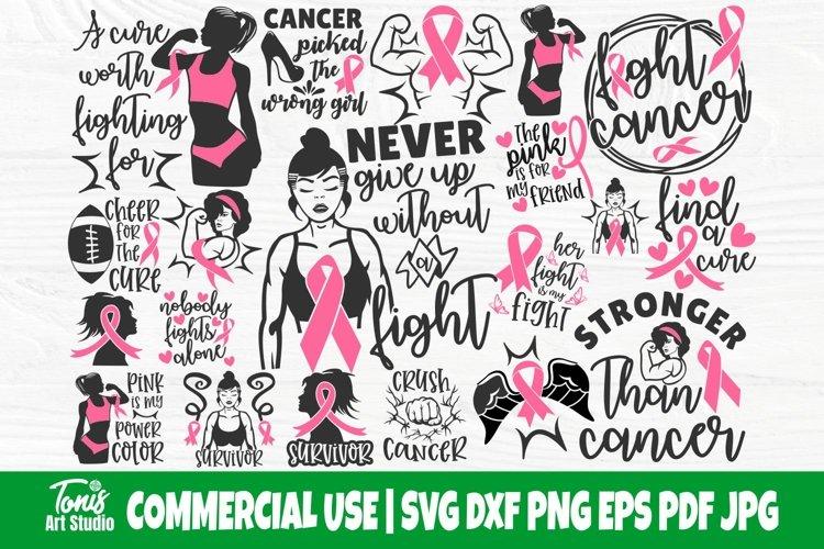 Breast Cancer SVG Bundle, Cancer Survivor Svg, Pink Ribbon example image 1