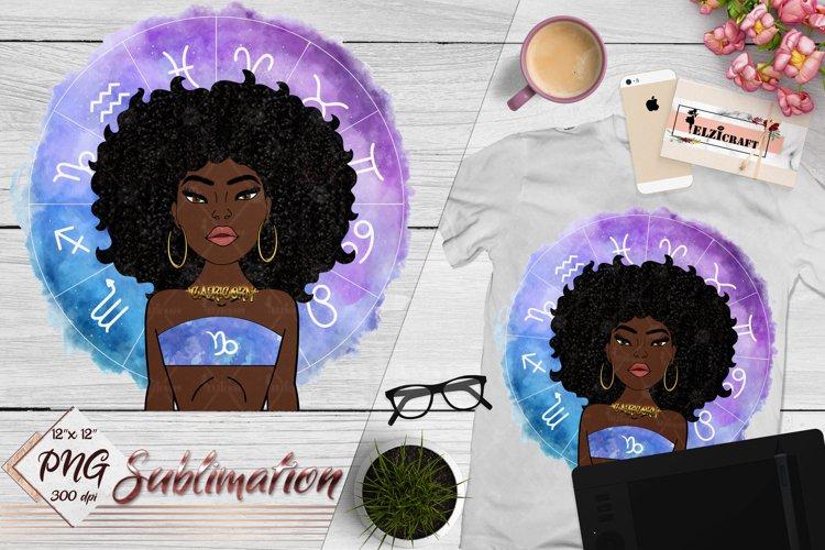 Capricorn Sign, Zodiac, Afro Woman Sublimation Designs