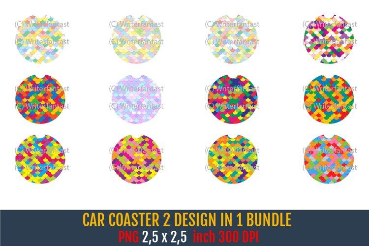 Car Coaster Sublimation Mermaid scales Patterns Bundle