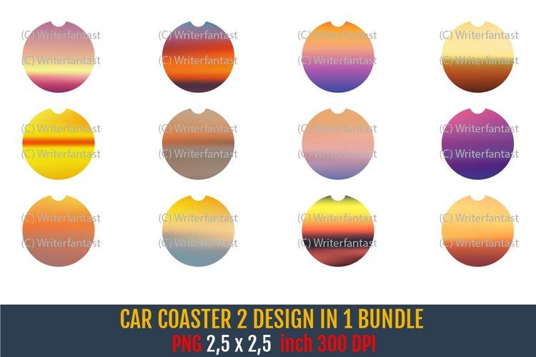 Car Coaster Sublimation Sunset Patterns Bundle