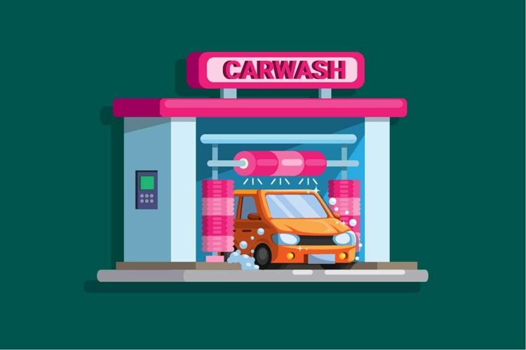 Car wash automatic drive thru building concept vector example image 1