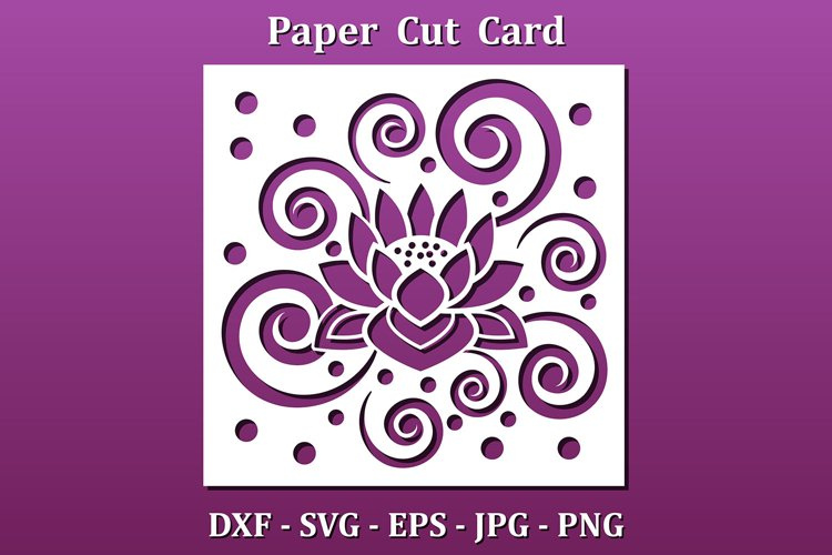 Paper cut Card with floral design pattern. Svg for cnc cut