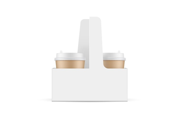 Cardboard Coffee Cups in Carrier Box example image 1